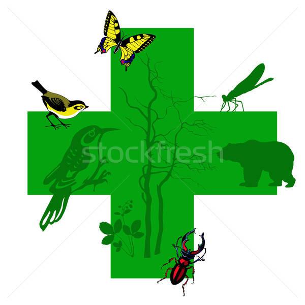 vector silhouette animal on green cross Stock photo © basel101658