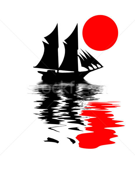 vector illustration of the old-time frigate on white background Stock photo © basel101658