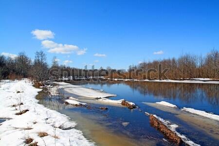 Conducción hielo río agua edificio sol Foto stock © basel101658
