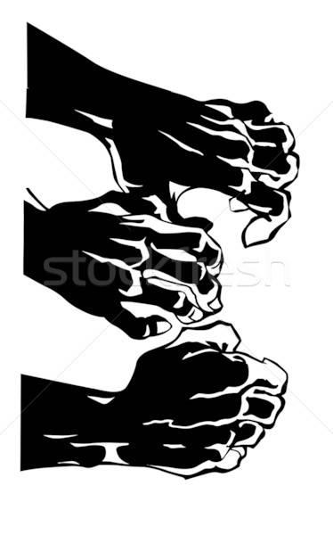 Vetor desenho silhueta mão humana branco projeto Foto stock © basel101658