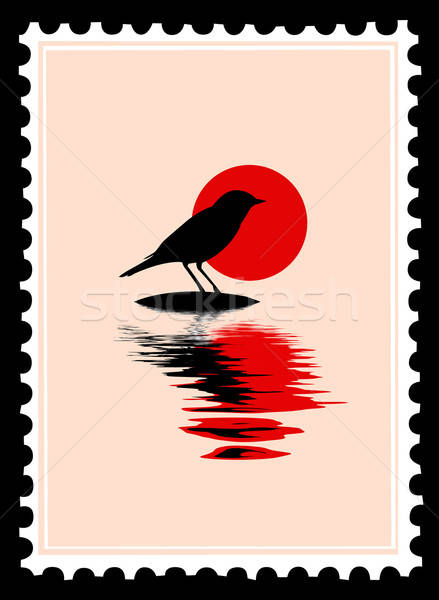 Vecteur silhouette oiseau timbres eau design Photo stock © basel101658