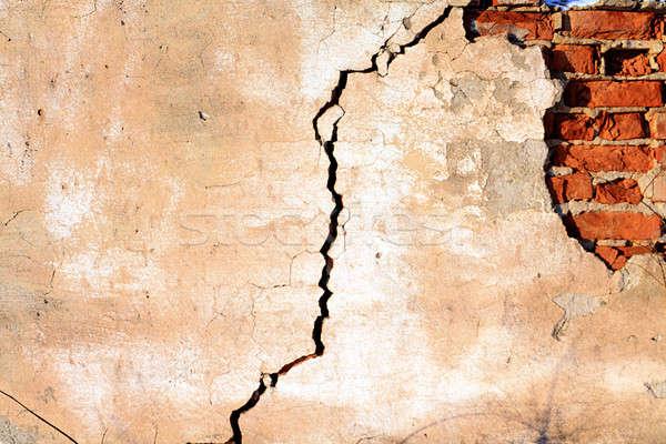 Vieux mur de briques mur peinture noir brique Photo stock © basel101658