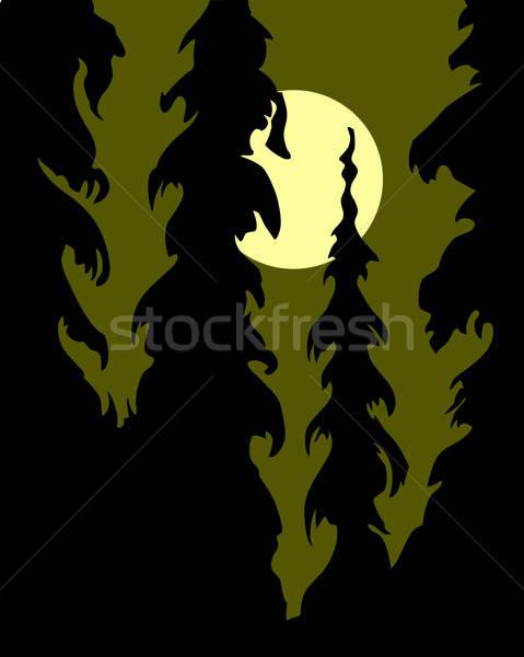 Vecteur dessin silhouette bois blanche plage Photo stock © basel101658