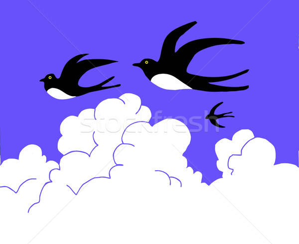 drawing swallow flying to cloudy sky Stock photo © basel101658