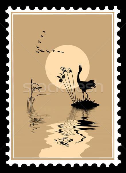 Vettore silhouette uccelli francobolli design sfondo Foto d'archivio © basel101658