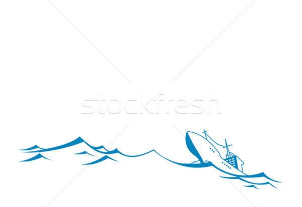 vector silhouette tanker on white background Stock photo © basel101658