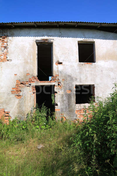 Oude huis voorjaar muur verf zwarte Stockfoto © basel101658