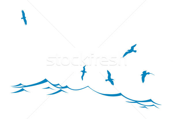 vector silhouette of the sea birds on wave Stock photo © basel101658