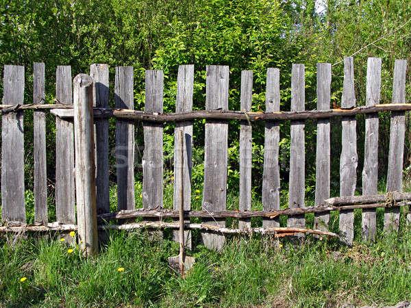 Stock fotó: öreg · fából · készült · kerítés · fű · fa · fal