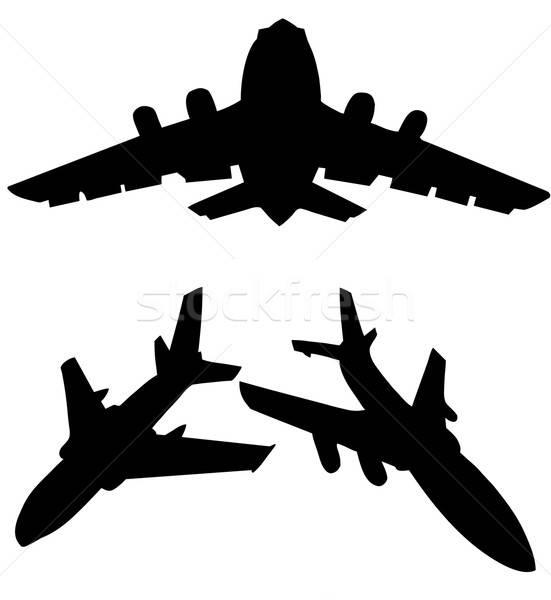Silhueta avião isolado branco projeto fundo Foto stock © basel101658