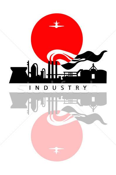 Vector dibujo paisaje industrial blanco puesta de sol fondo Foto stock © basel101658