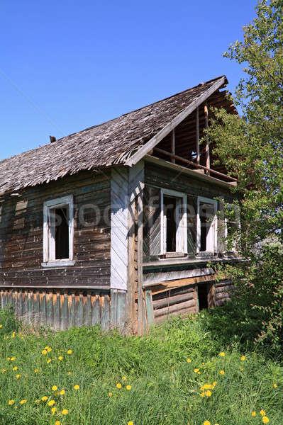 öreg fából készült ház égbolt fal festék Stock fotó © basel101658
