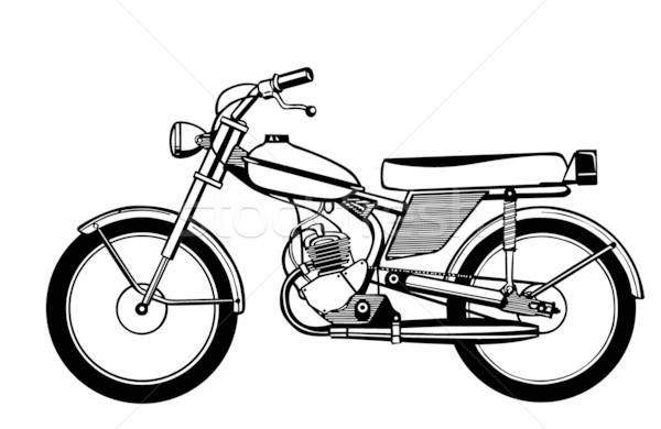 vector silhouette moped on white background Stock photo © basel101658