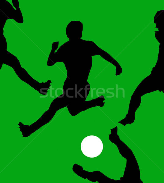 illustration game of football on green field Stock photo © basel101658