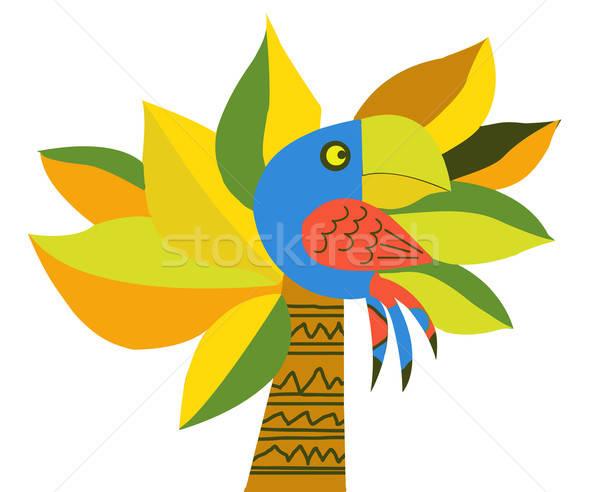 Vettore disegno pappagallo Palm albero design Foto d'archivio © basel101658
