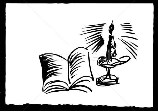 Vettore disegno candela bianco carta sfondo Foto d'archivio © basel101658