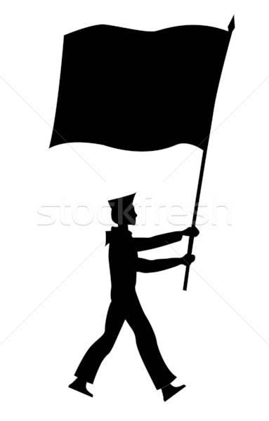 Vetor silhueta marinheiro bandeira branco fundo Foto stock © basel101658