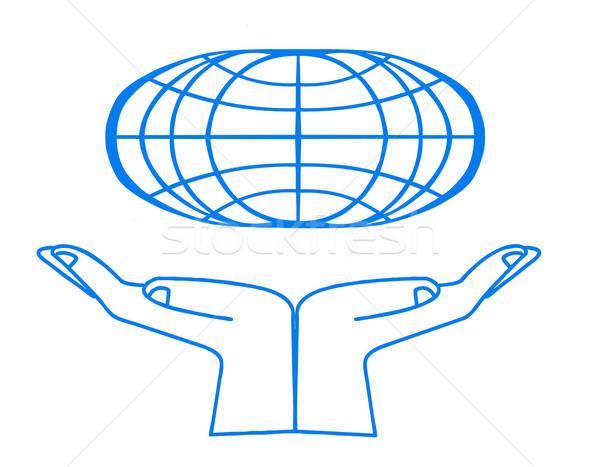 Vector símbolo blanco mano mundo fondo Foto stock © basel101658