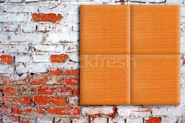 wooden tiles on brick wall Stock photo © basel101658