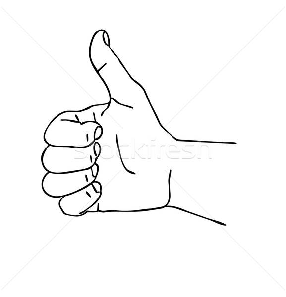 Vector dibujo silueta mano blanco diseno Foto stock © basel101658