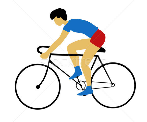 vector silhouette bicyclist on white background Stock photo © basel101658