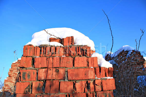 破壊された レンガ 建設 家 建物 壁 ストックフォト © basel101658