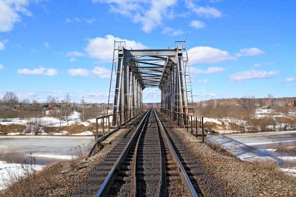 Ferrocarril puente cielo agua primavera tren Foto stock © basel101658