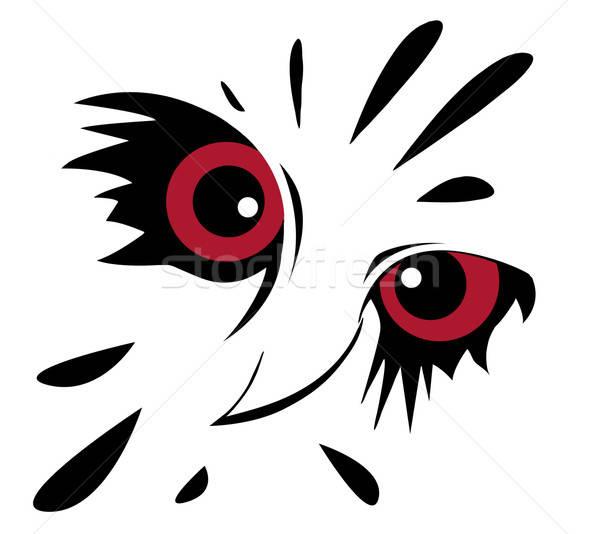 Vector tekening uil witte achtergrond teken Stockfoto © basel101658