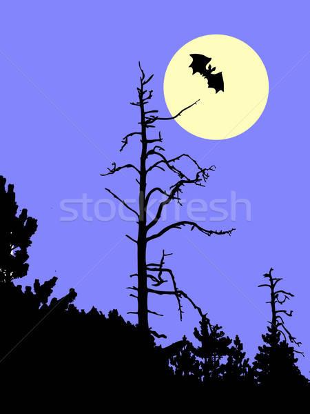 Vektör çizim siluet eski ağaç mavi Stok fotoğraf © basel101658