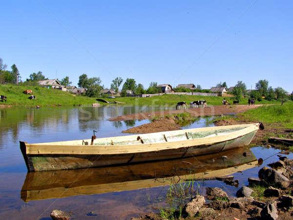 Houten boot water boom landschap home Stockfoto © basel101658