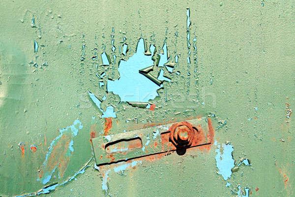 Grunge belső fal fém narancs kék Stock fotó © basel101658