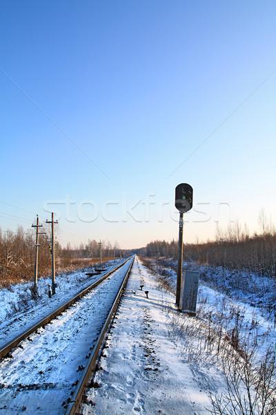 ストックフォト: 鉄道 · 冬 · ツリー · 木材 · 雪 · 列車