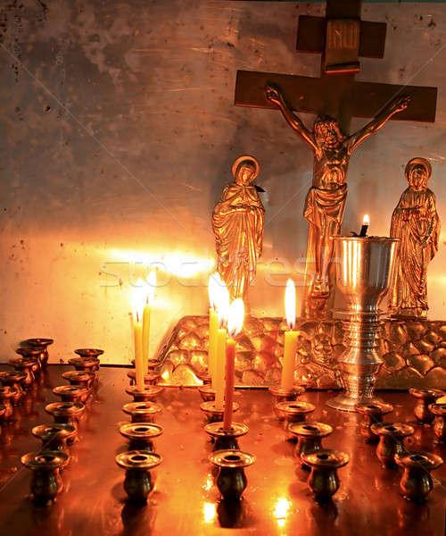 Velas ortodoxo igreja amor luz laranja Foto stock © basel101658