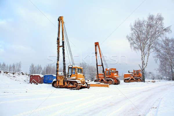 Gépek építkezés hó fém dolgozik energia Stock fotó © basel101658