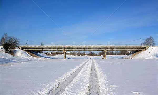 car bridge through freeze river Stock photo © basel101658