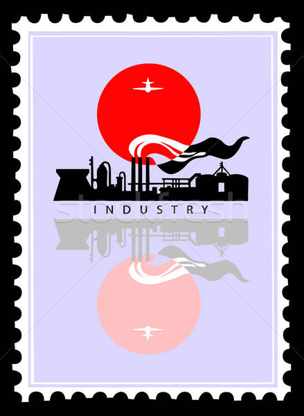 Vektor rajz ipari táj nap háttér keret Stock fotó © basel101658