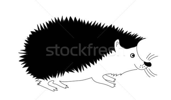 Vektor sziluett sündisznó fehér természet háttér Stock fotó © basel101658