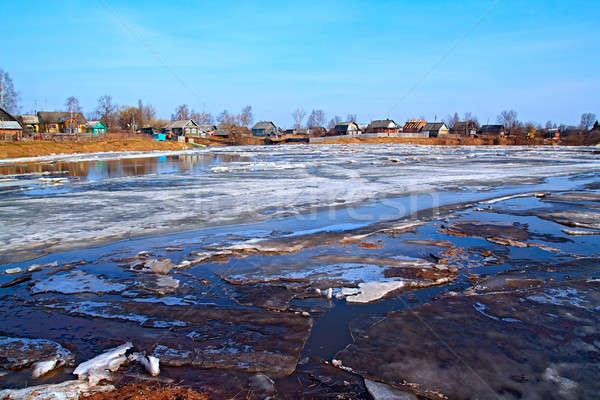 Vezetés jég folyó égbolt épület természet Stock fotó © basel101658