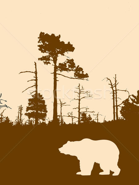 вектора рисунок силуэта несут древесины Сток-фото © basel101658