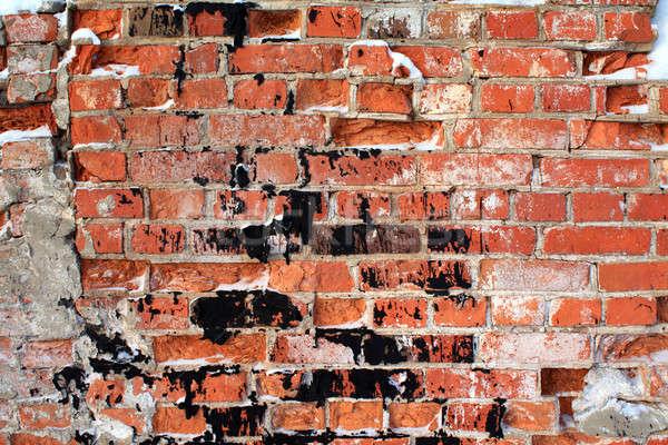 Veroudering muur bouw muur verf zwarte Stockfoto © basel101658