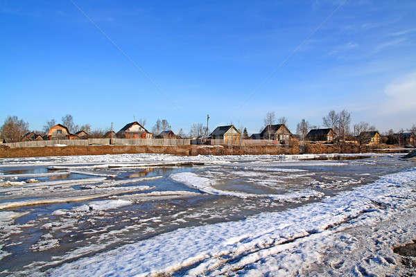 Vezetés jég folyó víz épület nap Stock fotó © basel101658