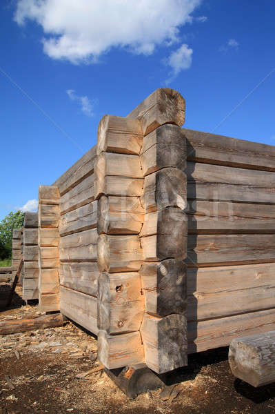 Stock photo: construction of the old wooden building