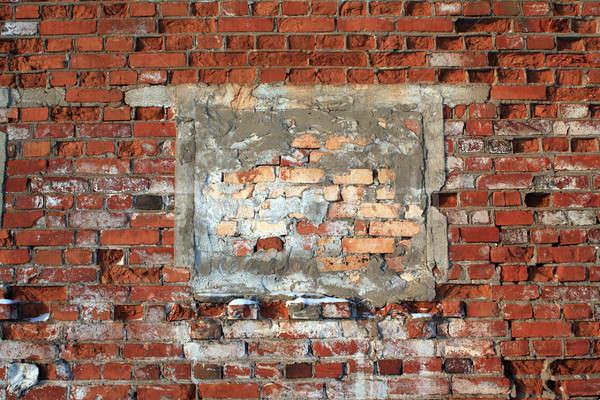 Yaşlanma tuğla duvar inşaat duvar boya siyah Stok fotoğraf © basel101658