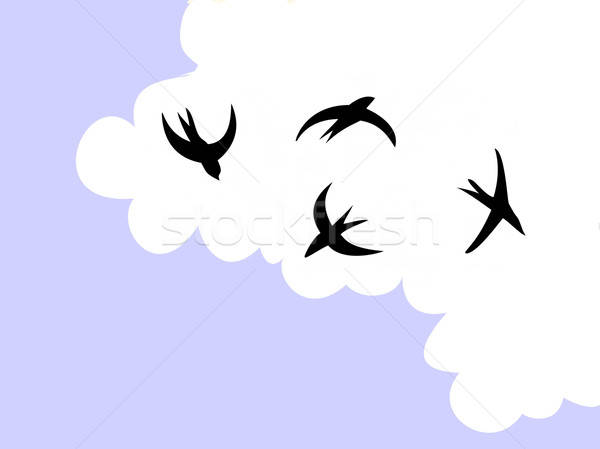 drawing swallow flying to sky Stock photo © basel101658