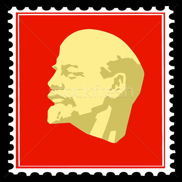 vector silhouette lenin on postage stamps Stock photo © basel101658