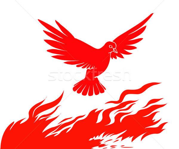 Stock fotó: Vektor · sziluett · madár · tűz · fehér · absztrakt