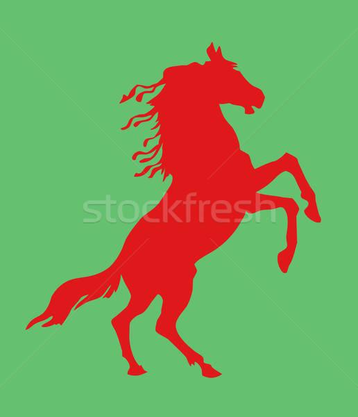 ベクトル 図面 シルエット 馬 緑 自然 ストックフォト © basel101658