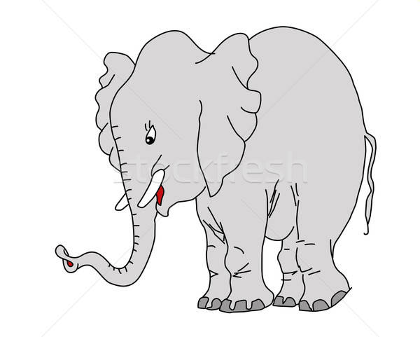 vector drawing elephant on white background Stock photo © basel101658