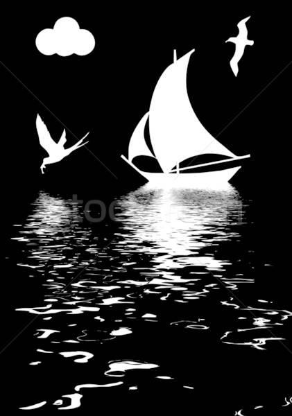Vektor Zeichnung Illustration Segelboot Ozean Meer Stock foto © basel101658