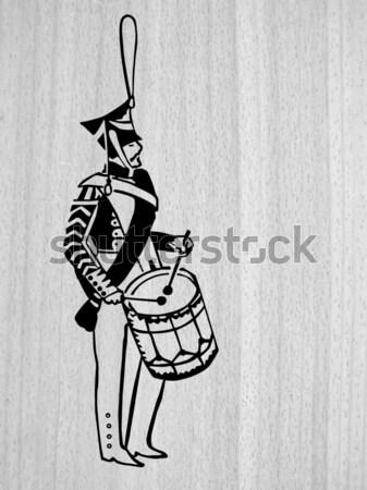 ストックフォト: ベクトル · 図面 · シルエット · 軍 · ドラマー · 白